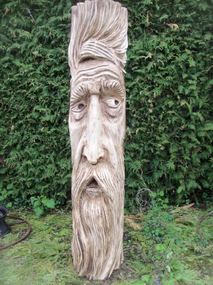 wood spirit en chêne. H:130 cm
